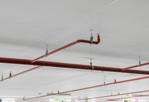 Fire sprinkler and red pipe